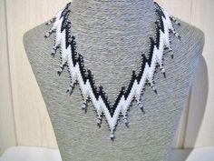 Zwart wit ketting met Swarovski kristal kristal door Seadbeady