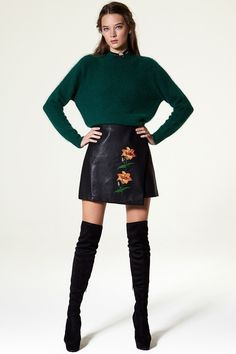 Caroline Flower Embroidery Leather Skirt Discover the latest fashion trends online at storets.com