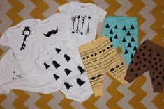 DIY ONSIES. SO ADORABLE !!!! purchased the onsies and leggings at babies r us. Fabric Paint!