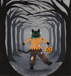 Frankencat Halloween Cat Original Folk Art Painting by KilkennycatArt
