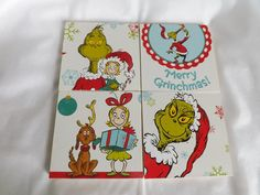 Grinch Ceramic Tile Coasters-Set of 4- Dr. Seuss Grinch Christmas Gift by SendInspirations on Etsy