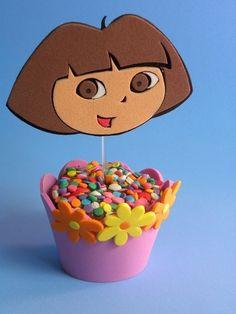 Wrapper para Cupcake   Topper Dora Aventureira www.petilola.com.br