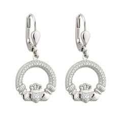 A pair of classic Claddagh Earrings accentuated by a glittering cubic zirconia crystals. The claddagh represents the virtues of love, loyalty and friendship through its heart, crown and hands respectively. Measures approx. 0.6 inch tall and wide. Comes in a presentation gift box. Made by Solvar Jewelry, Dublin, Ireland and hallmarked at the Assay office in Dublin Castle