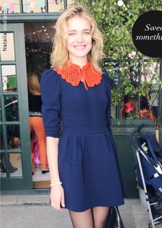 Cute orange collar on top of blue shift dress... gotta figure out the crochet pattern! H Life   H US