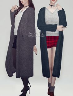 Maxi long cardigan for The Sims 4