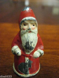 old early vintage antique metal cast iron london england christmas santa