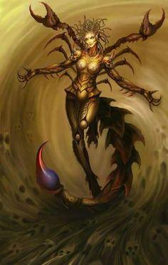 The Skorpion is a species of demon living in Otrazheniye. Dark Fantasy Art, Fantasy Women, Fantasy Artwork, Weird Creatures, Fantasy Creatures, Mythical Creatures, Female Monster, Fantasy Monster, Sibylla Merian
