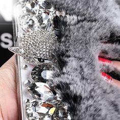 For Samsung Galaxy S7 Edge Case Rabbit Hair Fur Fox Head Bling Diamond TPU Case For. Click visit to buy #RhinestoneCase #rhinestone #case