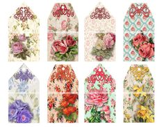 PRINTABLE VINTAGE FLORAL Gift Tags Set of 8 by ChangingArtitudes
