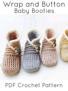 These little booties are darling! A perfect gift for a boy or girl! #crochet #pattern #baby #booties #affilaite