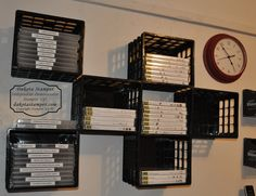 Stampin' Up! Love this idea. Use mini milk crates to organize stamp sets stored in DVD cases. Milk Crate Shelves, Milk Crate Storage, Craft Room Storage, Craft Organization, Organizing, Craft Rooms, Milk Crate Furniture, Diy Furniture, Plastic Milk Crates