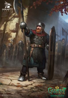 m Dwarf Fighter Royal Army Hvy Armor Shield Halberd hills forest The Witcher/ Mahakam Guard/ Gwent Card/ Scoia'tael Dark Fantasy, Fantasy Dwarf, Fantasy Rpg, Medieval Fantasy, Fantasy Artwork, Fantasy World, Fantasy Warrior, Fantasy Races, The Witcher