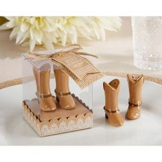 The Just Hitched Ceramic Cowboy Boot Salt and Pepper Shakers from Kate  Aspen make for fantastic wedding favors dc2336de36c4