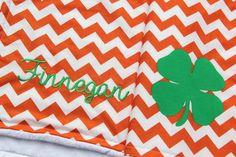 Irish Baby Blanket Four Leaf Clover Monogrammed by mylittlemookie