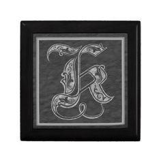 K Monogram Royal Grey Stone Decorative Box