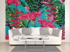 Large Photo Wallpaper Wall Mural for Bedroom Decor, Living Room Wall Decor, Office or Dining Room Wall Art - Tropical Fuscia Wallpaper by PurpleEyeDesign on Etsy