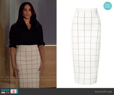 Rachel's white windowpane checked pencil skirt on Suits. Outfit Details: https://wornontv.net/74197/ #Suits
