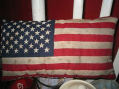 Primitive American Flag Pillow/Americana/Fourth Of July/Flag