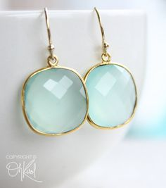SALE Gold Aqua Chalcedony Earrings Gemstone Earrings by OhKuol