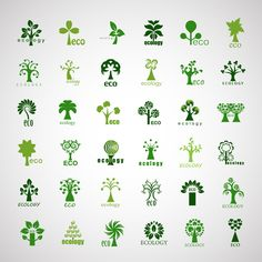 Creative ecology tree icons vector