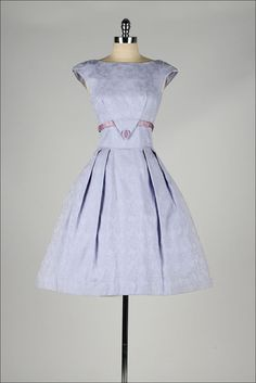 1950's lilac cotton embossed floral print dress