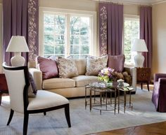 Purple Living Room Interior Design Ideas: Homely Heathers.   Within the mid-tone ranges of purple heather sit comfortably in the middle of the red warm tones and cool blue tones. Heather (the plant) is associated with good luck and admiration, and this can be equated into your living room décor.