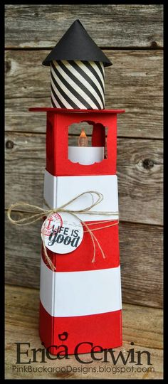 Paper Lighthouse by Pink Buckaroo Designs. Tutorial available in Summer Fun Project Planner http://pinkbuckaroodesigns.blogspot.com/2014/06/3d-paper-lighthouse.html