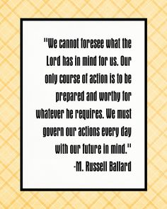 """"""" . . . We must govern our actions every day with our future in mind."""" 