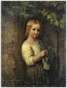 Johann Georg Meyer von Bremen (German, 1813-1886) «The knitting girl» 1851
