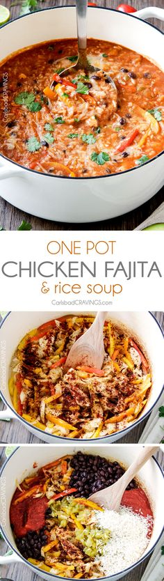 ONE POT Pepper Jack Chicken Fajita and Rice Soup is packed with your favorite fajita flavors and is SO easy, delicious and comforting! The whole family will love this soup!(Chicken And Rice Crockpot) Slow Cooker Recipes, Crockpot Recipes, Soup Recipes, Dinner Recipes, Chicken Recipes, Cooking Recipes, Rice Recipes, Recipies, Rice Soup