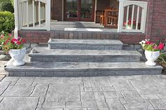 Specializing in Stamped Concrete, Exposed Aggregate, Patios and Driveways. Biondo Cement is Southeast Michigan's leading Concrete Contractor for over 25 years! Concrete Porch, Cement Patio, Concrete Stairs, Cement Steps, Brick Steps, Door Steps, Front Porch Steps, Front Walkway, Front Deck