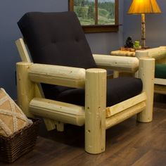 Superbe Pine Log Futon Chair With Mattress. USA Made!