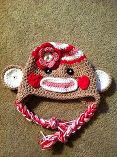 Crochet Valentine Sock  Monkey Hat  Newborn to Toddler sizing  Photography prop. $21.00, via Etsy.