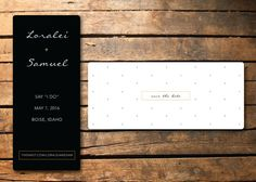 Keep it classic with this simple black, white and gold dot wedding save the date. Give your announcement an added touch by including a matching