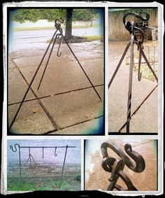 This Tripod is a reproduction cooking tripod from the civil war era. used as a spit or a tripod over a campfire. It also makes a great plant holder for the home garden. These range in price based on style. Pictured is the Fancier tripod with twist on square post. FOR SALE $60-$80 contact @ samfontenot@rocketmail.com for more info.....shipping available