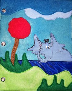 Quiet Book, Sensory Page..*Horton Hears A Who, Dr.Seuss*  Horton hears a Who! Push on the red fuzzy plant to help Horton Hear the Who's in Whoville. Sensory book for boys and girls ages 1+ years old and up. CUSTOMIZE YOUR OWN BOOK with as many pages as you like! $10.00-$15.00 per page MADE TO ORDER! Each page is handmade and designed with love! I have many other pages to choose from. https://www.etsy.com/shop/LilysAndLaughs