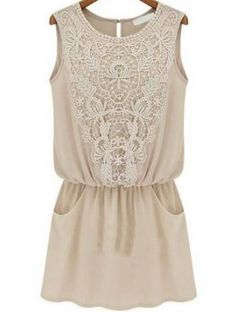 Apricot Sleeveless Lace Slim Chiffon Tunic Top