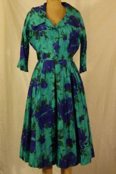 Vtg-50s-SILK-TEA-FLORAL-PRINT-TEA-DRESS-SMALL-BY-ELLIETTE-OF-CALIFORNIA