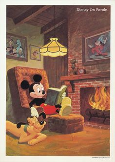Mickey Mouse reading with Pluto, 1978....I'm imagining Jake and Griff, 2013!