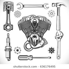 Set of auto and moto logos, garage, service, repair tools isolated on a white background. vector illustration: compre este vector en Shutterstock y encuentre otras imágenes. Garage Logo, Garage Art, Garage Tools, Garage Drawing, Drawing Tools, Piston Tattoo, Wrench Tattoo, Tool Tattoo, Mechanic Tools