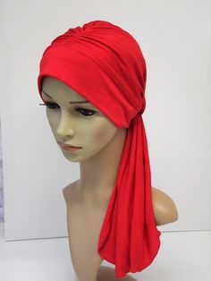 Red headwear for women, elegant turban snood, bad hair day scarf, tichel, head snood, turban with ties, chemo head wear by accessoriesbyrita on Etsy