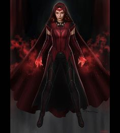 """@andyparkart: """"Here's the Scarlet Witch design I did with her cape & hood. I loved creating both her looks with &…"""""""