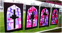 """Cute craft idea with kiddos: making """"stained glass"""" windows using tissue paper, black construction paper, and clear contact paper."""