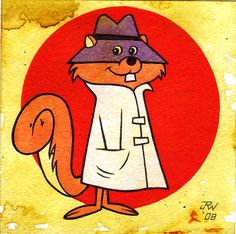 Secret Squirrel by J.R. Williams (acrylic and inks)