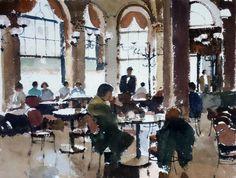 John Yardley (b. 1933, UK) The Cafe. watercolour. 40 x 50 cm.