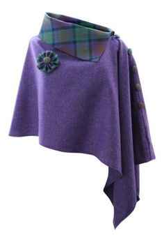 Purple Rave Tweed Poncho Cape Wrap with Isle of Skye Tartan Roll Neck Sewing Clothes, Diy Clothes, Clothing Patterns, Sewing Patterns, Poncho Cape, Tweed, Cape Designs, Cape Pattern, Capes For Women