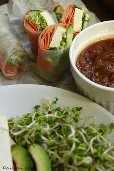 jarni-zavitky-se-sladkokyselou omackou Krabi, Fresh Rolls, Tofu, Delicious Blog, Food And Drink, Veggies, Ethnic Recipes, Fit, Bulgur