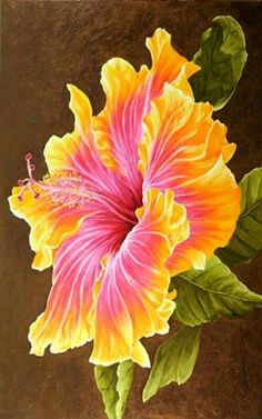 The Pink Hibiscus - Oils over Acrylic Hibiscus Plant, Hibiscus Flowers, Exotic Flowers, Tropical Flowers, Amazing Flowers, Beautiful Flowers, Watercolor Flowers, Watercolor Paintings, Hawaiian Flowers