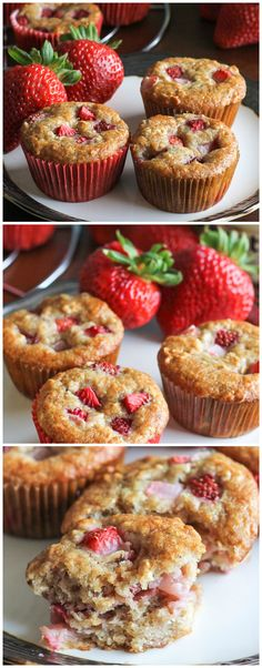 These Strawberry Banana Muffins are the perfect snack or breakfast! Greek yogurt, strawberries, & bananas keep these muffins moist & fruity.