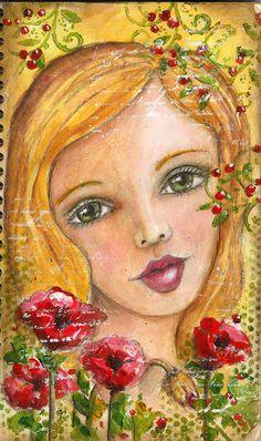Art du Jour by Martha Lever: Amelia wth Poppies and Berries Mixed Media Faces, Mixed Media Art, Mix Media, Art Journal Pages, Art Journals, Art Journal Inspiration, Whimsical Art, Face Art, Medium Art